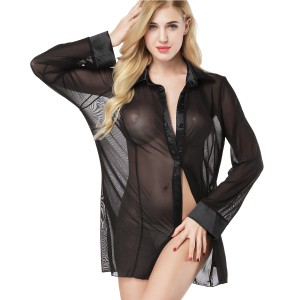 Women's Sexy Sheer Sleepshirt Pajamas Long Sleeve Mesh Blouse Lingerie