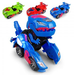 Dinosaur LED Car Kids Toys Play Deformation Vehicles with Light Flashing Music Red