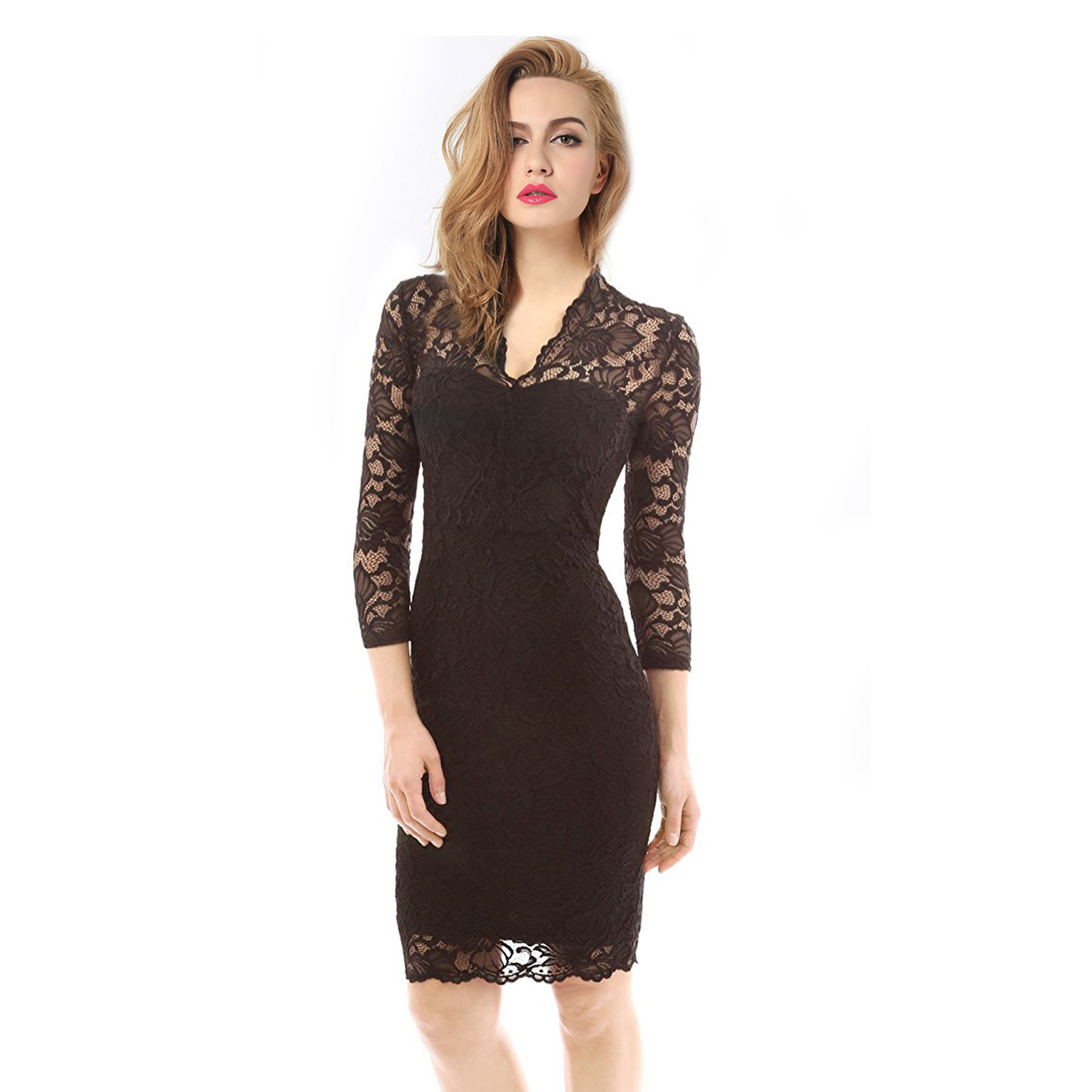 Womens v neck 34 sleeve floral lace cocktail dress etaoline womens v neck 34 sleeve floral lace cocktail dress ombrellifo Image collections