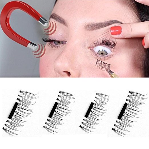 False Magnetic Eyelashes, Women Ultra-thin Reusable 3D Fake Eye Lashes for Natural Look, 2 Pairs 4 Pieces